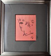 Jean Cocteau Original Drawing / Sketch On Paper Portrait Circa 1950's Framed