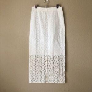 Shop Meg by Meg Kinney Sheer Geometric White Maxi Skirt Size Small