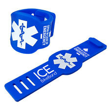 TUFF LUV ICE BikeBand I.C.E. Safety Emergency Contact Info Bike/Cycle -  Blue