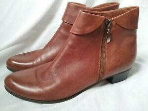 Spring Step Womens Stockholm Ankle Bootie Zipper Soft Brown Leather Boots Sz 42
