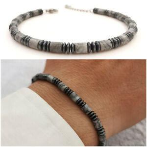 Bracciale da uomo con pietre dure ematite braccialetto in acciaio perle perline