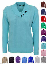Button Collared Hip Length Jumpers & Cardigans for Women