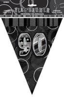 90th Black Glitz Bunting - 12ft Long - Plastic Party Pennants Flag Banner