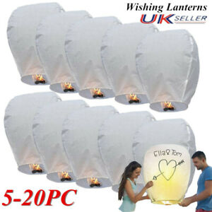 White Chinese Wishing Kongming Lighting Flying Paper For Birthday Party Wedding