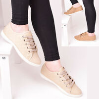 Ladies Womens Lace Up Trainers Quilted Flat Pumps Plimsolls Casual Gym Shoes 3-8