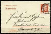 GERMANY BADEN 10 pfg POSTCARD 16 OKT 13 FROM MUENNERSTADT TO FRANKFURT