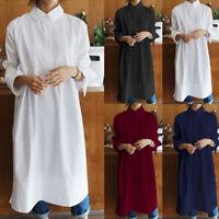Women Summer Loose Midi Dress Solid Oversize Long Sleeve Collar Shirt Dress Plus