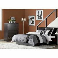 3 Piece Black Queen Size Platform Bed Bedroom Furniture Collection Set Headboard