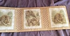 Wall Paper Border Elephants Lions babies Vymura 49-543 Natural Colors Textured