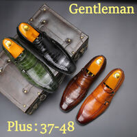 Mens British Oxfords Business Formal Dress Shoes Casual Leather Buckle Flat Shoe