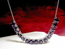 "KJC 925 STERLING SILVER ROUND PURPLE AMETHYST STONES COLLAR NECKLACE 16"" LONG"