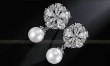 Vintage Silver Crystal Wedding White Pearl Drop Earrings Bridal Jewellery