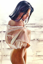 ORIGINAL painting, Glamour, Model, Nude, Pin Up. Fine art work Made in Germany
