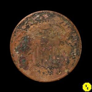 1864 Large Motto Two Cent Piece, XF Details, Heavily Corroded, First Year #35