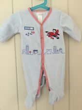 Pitter Patter Boys Babygrow All-in-One Sleepsuit Blue Velour 3-6 Months