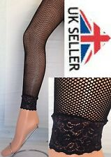 black footless fishnet tights with lace frill