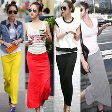 HK- Womens Long Maxi Skirt Modal Cotton Blend Full High Waist Stretchy Dress B34