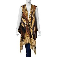 Brown & black coloured leaf Pattern Waistcoat Style Top One Size
