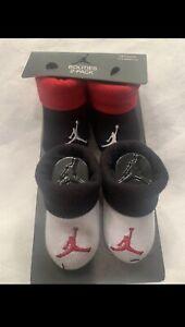 NEW Nike Air Jordan Jumpman 2 Pairs Newborn 0-6 Baby Red Black White Booties