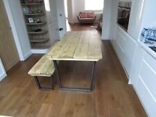 Dining table and bench, reclaimed wood and industrial metal base,Kitchen table,