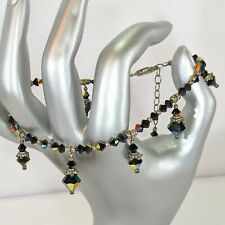 Artisan AB Crystal Bead 925 Sterling Jet Black Drop Dangle Anklet Bracelet EUC