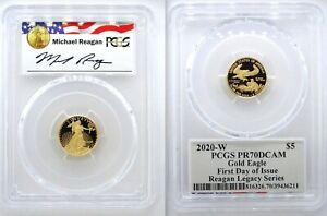 2020-W $5 Proof Gold Eagle PCGS PR70DCAM First Day Issue Michael Reagan Label