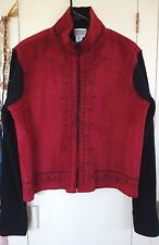 COLDWATER CREEK Faux Suede Zip Jacket w Floral Embroidery & Ribbed Sleeves Sz L