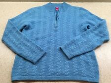 Peter Miller Small Blue Cashmere Quarter Zip  Sweater $325.