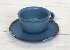 Vintage Dansk Mesa Sky Blue Cup Saucer Set Tea Coffee Hippie Tribal Southwest