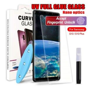 Full Glue UV Liquid Tempered Glass Screen Protector Samsung S9 S8 + S10 Note10