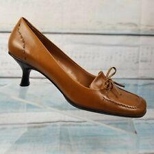ENZO ANGIOLINI EA FLEXO Womens Tan   Brown Kitten Slip On Bow Heels Size 8.5 M