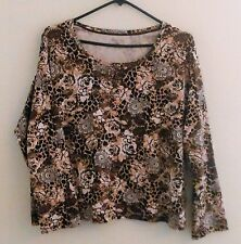 WHITE STAG Long Sleeve 100% Cotton Leopard Rose Brown Tee Shirt Plus Size 20 XXL