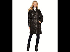New Andrew MARC NEW YORK Women's Leigh Laquer Puffer Hooded jacket coat fur