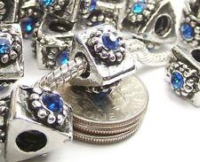 Blue Crystal Screw Threaded Stopper Lock Stop Bead for European Charm Bracelet