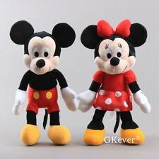 2X Cluddly Mickey Mouse & Minnie Mouse Plush Toy Stuffed Doll Figure 14'' Teddy