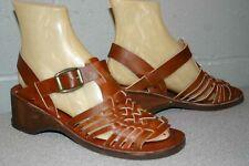 Vtg 1970s 7 Fits 6-6.5 Nos Brown Huarache Leather Wood Block Heel Sandal Shoe