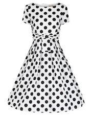 Lindy Bop Hazel' Classic Vintage 1950s White Polka Dot Swing Dress BNWT Size 24