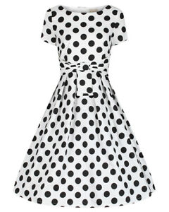 Lindy Bop Hazel' Classic Vintage 1950s White Polka Dot Swing Dress BNWT Size 24.