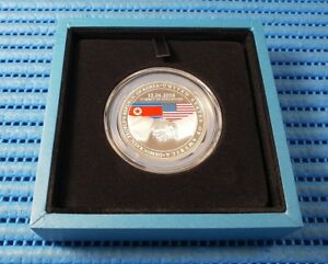 2018 Singapore Trump & Kim Summit Commemorative Silver Proof Medallion