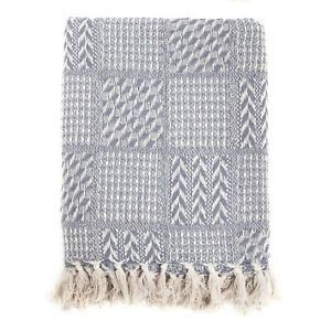100% Cotton Herringbone Weave Cotton Throw Natural 125x150cm FREE DELIVERY*