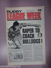 #T107. RUGBY LEAGUE WEEK NEWSPAPER 6/8 1977,  BALMAIN, PARRA & EASTS CENTRE