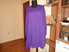 THE MASAI CLOTHING PURPLE VISCOSE PLEATED FRONT BUTTONED RELAXED TUNIC-S,8-UK
