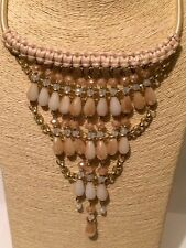 Womens Statement Long Cream Beaded Faux Pearl Chain Tribal Necklace Earrings Set