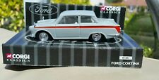 1:43 Diecast Corgi Light Grey Red Flash Ford Cortina Mk1 Model Car Mint in Case