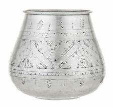 Amalfi Anvi Metal Handmade Faux Plant Vase/Planter Antique Silver 20x24cm
