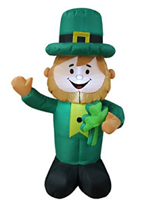 4 Foot Tall Lighted St Patricks Day Inflatable Leprechaun Holding Shamrock Cute