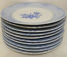 Hutschenreuther Blue Floral Design Dinner Plates - Set Of 10 - Very Good Cond.