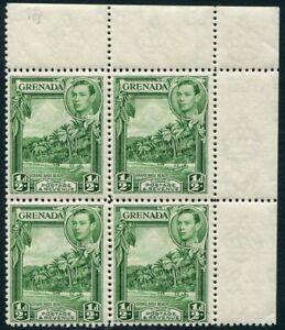 GRENADA-1938-50 ½d Yellow-Green Perf 12½ Corner Marginal Block of 4 Sg 153 UNM/M