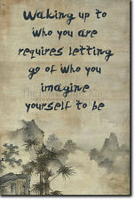 """ZEN QUOTE POSTER 6 """"Waking up to who you are"""" PHOTO PRINT BUDDHISM MOTIVATION"""