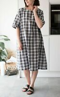 People Tree Grey Blue Check Dress S/M Relaxed Oversized Pocket Dress Flawless